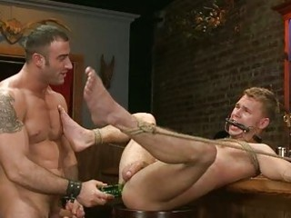 Horny gay stud gets roughly double fucked
